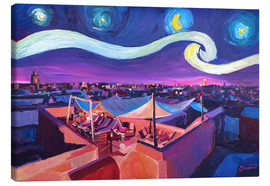 Stampa su tela  Starry Night in Marrakech   Van Gogh Inspirations on Fna Market Place in Morocco - M. Bleichner
