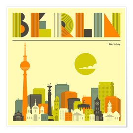 Poster Premium  Skyline di Berlino - Jazzberry Blue