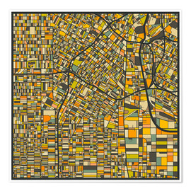 Poster Premium  Los Angeles Map - Jazzberry Blue