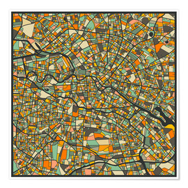 Poster  Berlin Map - Jazzberry Blue