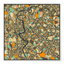 Poster Premium  Rome Map - Jazzberry Blue