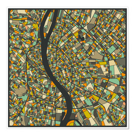 Poster  Budapest Map - Jazzberry Blue