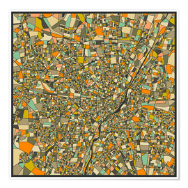 Poster  Munich Map - Jazzberry Blue