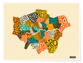 Poster  London Boroughs - Jazzberry Blue