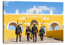Stampa su tela  Mariachi band with sombreros in an old monastery, Mexico - Matteo Colombo