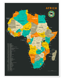 Poster Premium  Cartina dell'Africa (inglese) - Jazzberry Blue