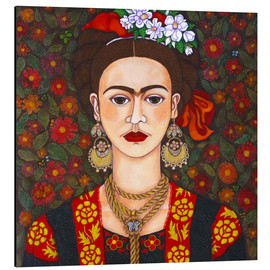 Alluminio Dibond  Frida with butterflies - Madalena Lobao-Tello
