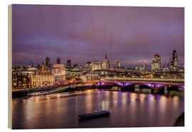 Stampa su legno  London Skyline Night - Sören Bartosch