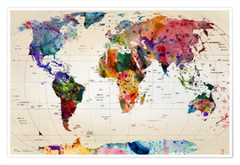 Poster  Map of the world - Mark Ashkenazi