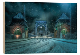 Stampa su legno  Kaiser Wilhelm Bridge Wilhelmshaven in winter at night - Rainer Ganske