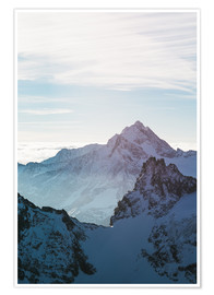 Poster Premium Fleckistock mountain peak above cloudscape  View from Titils mountain peak, Lucerne, Switzerland