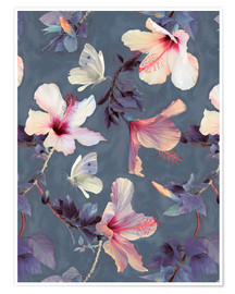 Poster Premium  Butterflies and Hibiscus Flowers - a painted pattern - Micklyn Le Feuvre