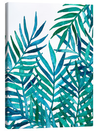 Stampa su tela  Watercolor Palm Leaves on White - Micklyn Le Feuvre