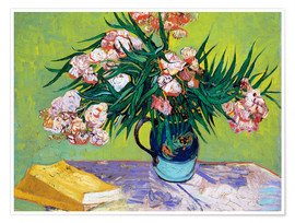 Poster Premium Majolica Jar with Branches of Oleander