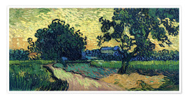 Poster Premium  Field with Trees, the Chateau of Auvers - Vincent van Gogh