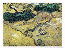 Poster Premium  Field with Two Rabbits - Vincent van Gogh