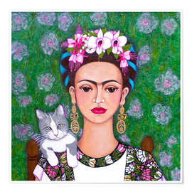Poster  Frida cat lover - Madalena Lobao-Tello