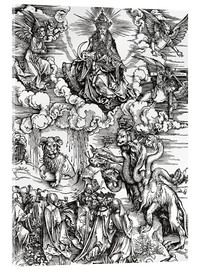 Stampa su vetro acrilico  Seven-headed beast from the sea and the beast with horns lamb - Albrecht Dürer