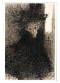 Poster Premium Portrait of a Lady with Cape and Hat