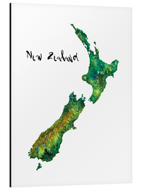 Alluminio Dibond  Map of New Zealand in Watercolour - Ricardo Bouman