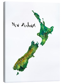 Tela  Map of New Zealand in Watercolour - Ricardo Bouman