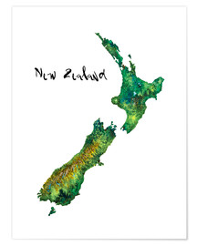 Poster  Map of New Zealand in Watercolour - Ricardo Bouman