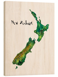 Legno  Map of New Zealand in Watercolour - Ricardo Bouman