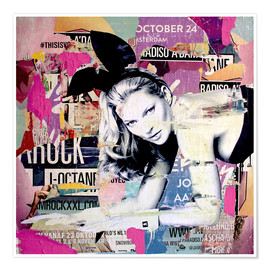 Poster  Kate Moss is playin' bad bunny - Michiel Folkers