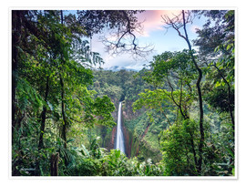 Poster Premium  Rainforest and Waterfall, Costa Rica - Matteo Colombo