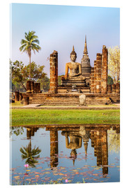 Stampa su vetro acrilico  Wat Mahathat buddhist temple reflected in pond, Sukhothai, Thailand - Matteo Colombo
