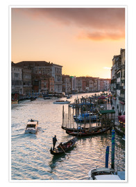 Poster Premium Sunset over the Grand Canal in Venice, Italy