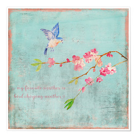 Poster Premium  Bird chirping waether Spring and cherryblossoms - UtArt
