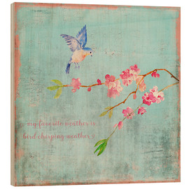 Stampa su legno  Bird chirping waether Spring and cherryblossoms - UtArt