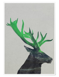 Poster Premium  Deer In The Aurora Borealis - Andreas Lie