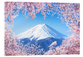 Stampa su vetro acrilico  Mount Fuji in Japan during the cherry blossom in spring - Jan Christopher Becke