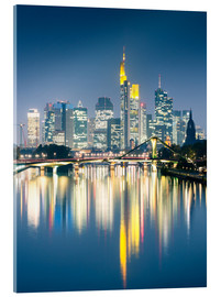 Stampa su vetro acrilico  Frankfurt skyline reflected in river Main at night, Germany - Matteo Colombo
