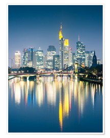 Poster Premium  Frankfurt skyline reflected in river Main at night, Germany - Matteo Colombo