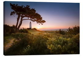 Stampa su tela  Sunrise at Lighthouse Dornbusch on Hiddensee - Kristian Goretzki