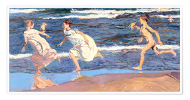 Poster  Running Along the Beach - Joaquin Sorolla y Bastida
