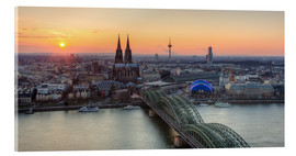 Stampa su vetro acrilico  Panorama view of Cologne at sunset - Michael Valjak