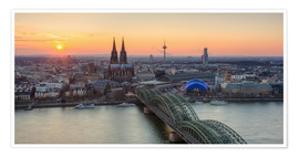 Poster Premium Panorama view of Cologne at sunset
