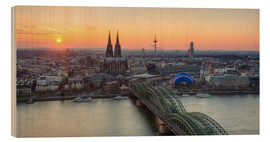 Stampa su legno  Panorama view of Cologne at sunset - Michael Valjak