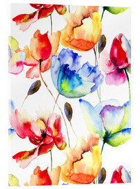 Poppies and tulips in watercolor