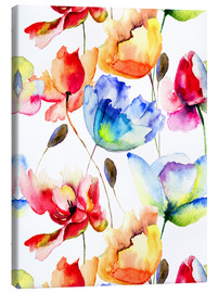 Stampa su tela  Poppies and tulips in watercolor