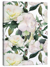 Tela  White Peony in watercolor