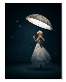 Poster Premium Girl with umbrella and falling feathers