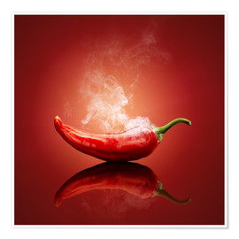 Poster  Red Hot smoking Chili still life - Johan Swanepoel