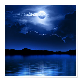 Poster Premium Fantasy moon and clouds over water