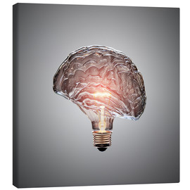 Stampa su tela  Conceptual light bulb brain illustrated - Johan Swanepoel