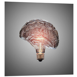 Stampa su schiuma dura  Conceptual light bulb brain illustrated - Johan Swanepoel
